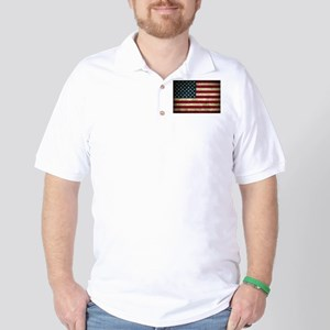 USA Flag - Grunge Golf Shirt