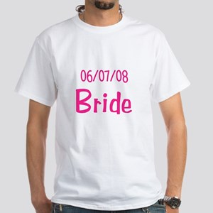 Bride and Groom Abstract Design White T-Shirt