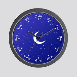 Stars & Moon Wall Clock with German Numbers