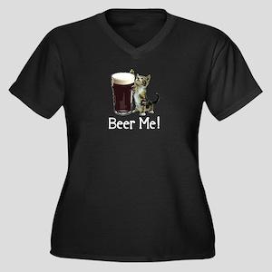 Beer Me! Women's Plus Size V-Neck Dark T-Shirt