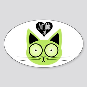 Zombie Cat Oval Sticker
