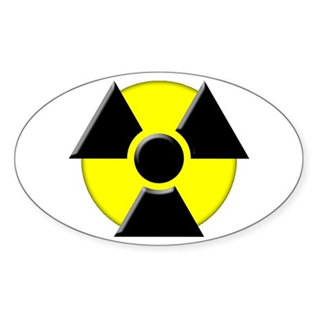 3D Radioactive Symbol Oval Sticker