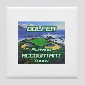 """Golfer Playing Accountant Today"" Tile Coaster"