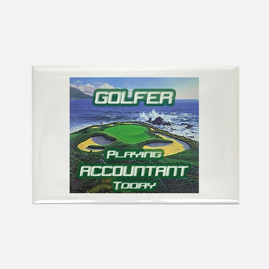 """""""Golfer Playing Accountant Today"""" Rectangle Magnet"""