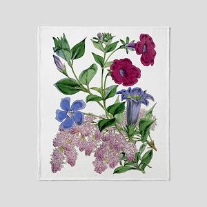 VINTAGE BOTANICAL FLOWERS Throw Blanket