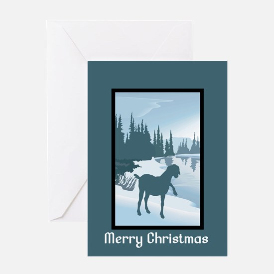 Scenic Goat Christmas Greeting Card