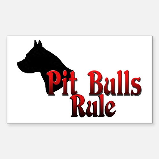 Pit Bulls Rule! Rectangle Decal