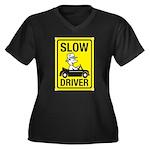 Slow Driver Women's Plus Size V-Neck Dark T-Shirt