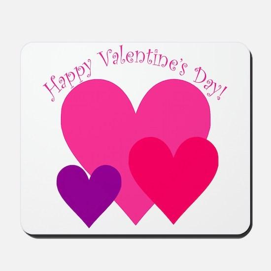 Valentine's Day Hearts Trio Mousepad