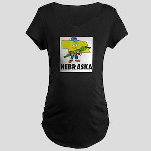 Nebraska Fun State Maternity Dark T-Shirt
