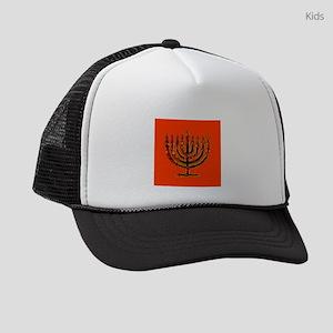 Colorful Orange Menorah Hanukkah Kids Trucker hat