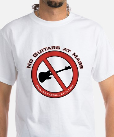 No Guitars White T-Shirt