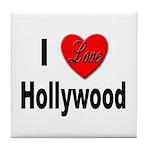 I Love Hollywood Tile Coaster