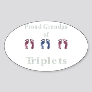 proud grandpa of triplets 2 g Oval Sticker