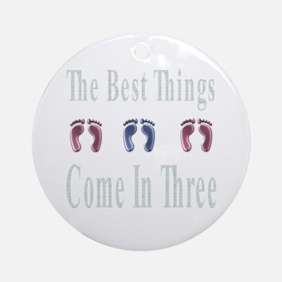 Gifts for triplet baby shower unique triplet baby shower gift best things come in three ornament round negle Gallery