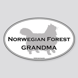 Norwegian Forest Grandma Oval Sticker