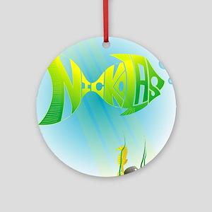 Nickolas Green Yellow Fish Ornament (Round)
