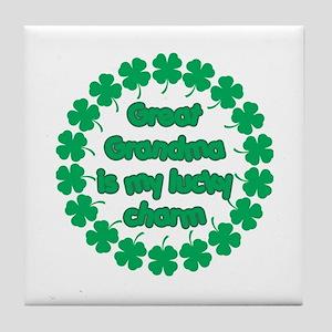 Great Grandma is My Lucky Charm Tile Coaster