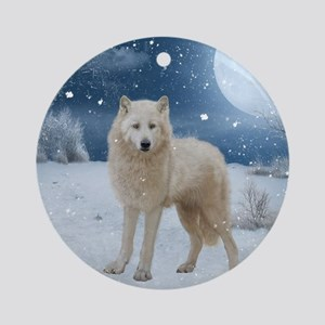 Awesome arctic wolf in the night Round Ornament