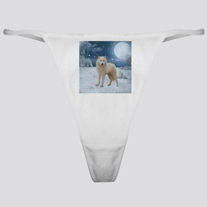 Awesome arctic wolf in the night Classic Thong