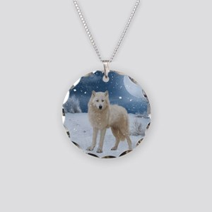 Awesome arctic wolf in the night Necklace