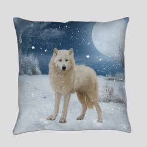Awesome arctic wolf in the night Everyday Pillow
