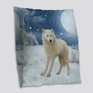 Awesome arctic wolf in the night Burlap Throw Pill