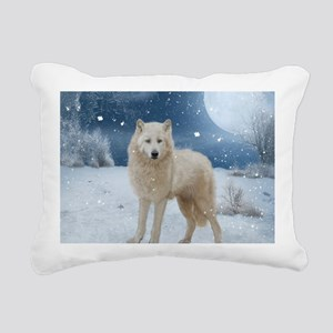 Awesome arctic wolf in the night Rectangular Canva