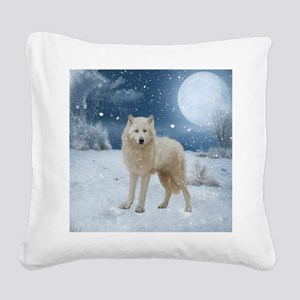 Awesome arctic wolf in the night Square Canvas Pil