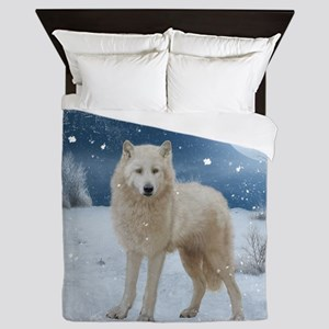 Awesome arctic wolf in the night Queen Duvet