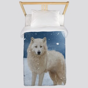 Awesome arctic wolf in the night Twin Duvet Cover