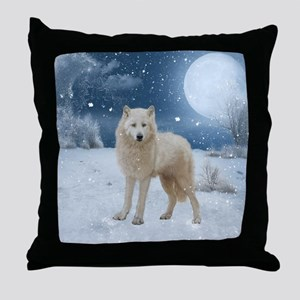 Awesome arctic wolf in the night Throw Pillow