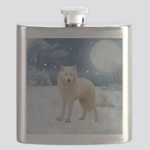 Awesome arctic wolf in the night Flask