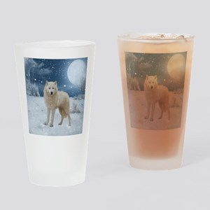 Awesome arctic wolf in the night Drinking Glass