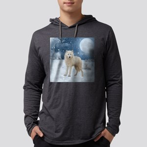 Awesome arctic wolf in the night Long Sleeve T-Shi