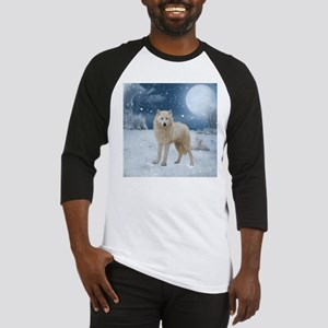 Awesome arctic wolf in the night Baseball Jersey