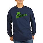 IRELAND with Shamrock Long Sleeve Dark T-Shirt