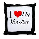 I Heart My Needler Throw Pillow