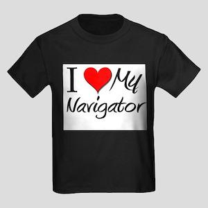 I Heart My Navigator Kids Dark T-Shirt