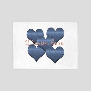 Cool Denim Love 5'x7'Area Rug