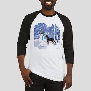 Rottweiler & Snowman Christmas Baseball Jersey