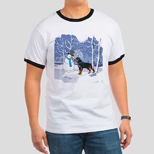 Rottweiler & Snowman Christmas Ringer T