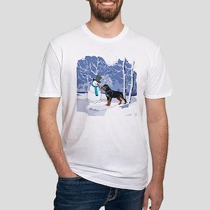 Rottweiler & Snowman Christmas Fitted T-Shirt