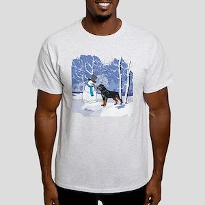 Rottweiler & Snowman Christmas Light T-Shirt