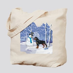 Rottweiler & Snowman Christmas Tote Bag