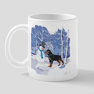 Rottweiler & Snowman Christmas Mug