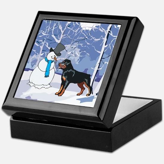 Rottweiler & Snowman Christmas Keepsake Box