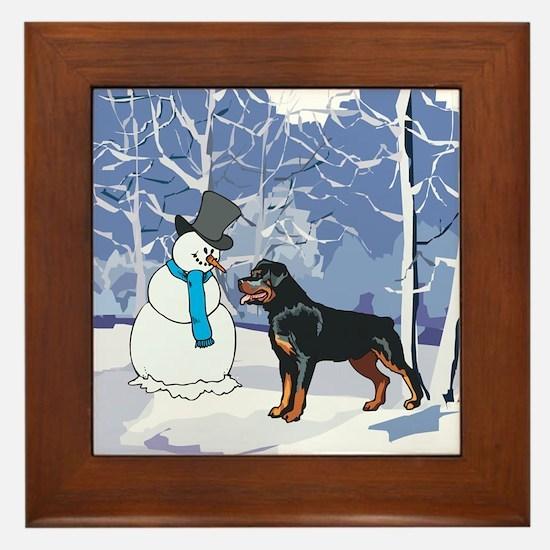 Rottweiler & Snowman Christmas Framed Tile