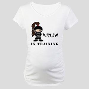 Brunette Ninja In Training Maternity T-Shirt