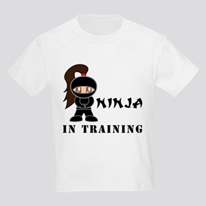 Brunette Ninja In Training Kids Light T-Shirt